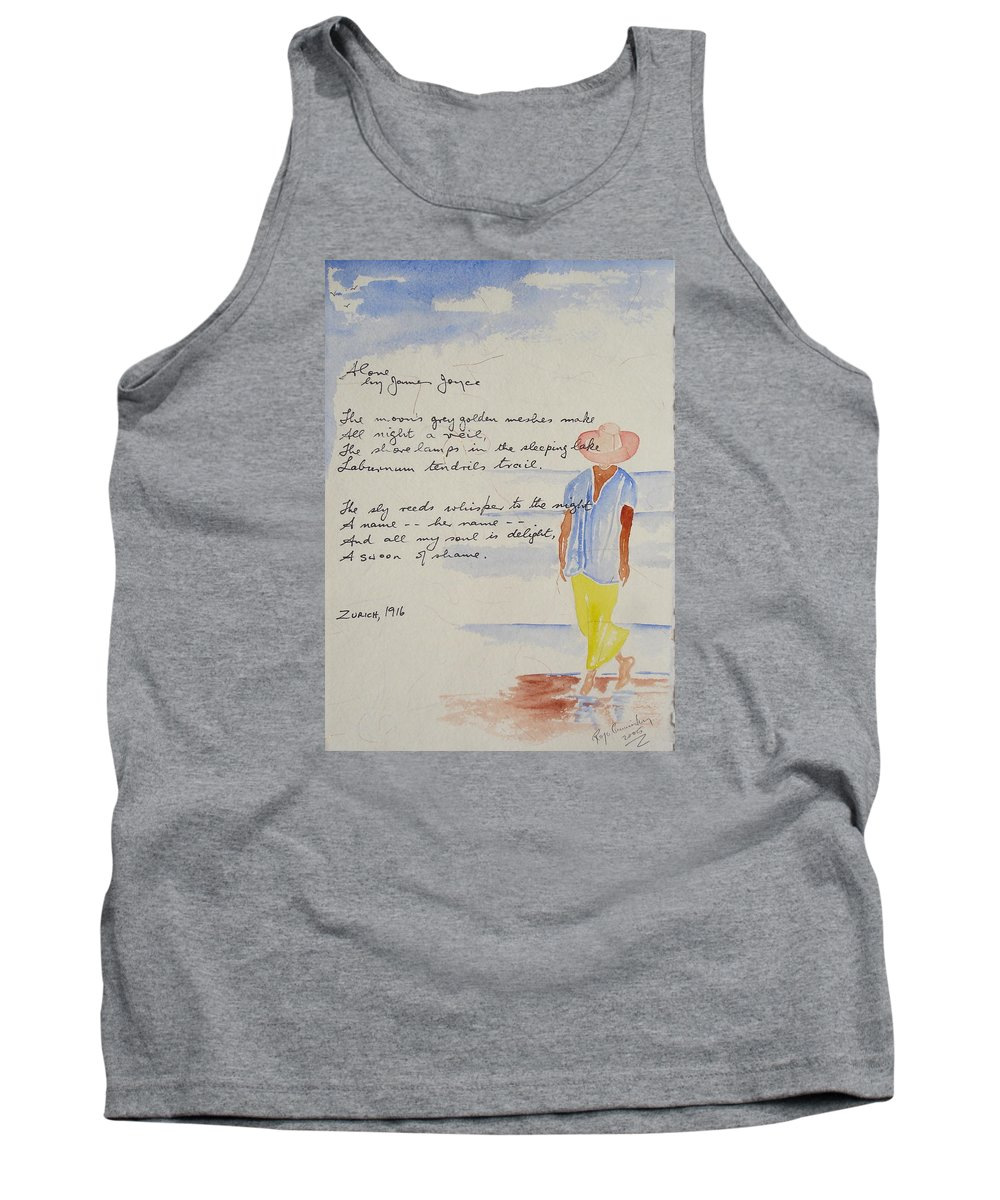 Love Heart Valentines Tank Top featuring the painting Alone by Roger Cummiskey