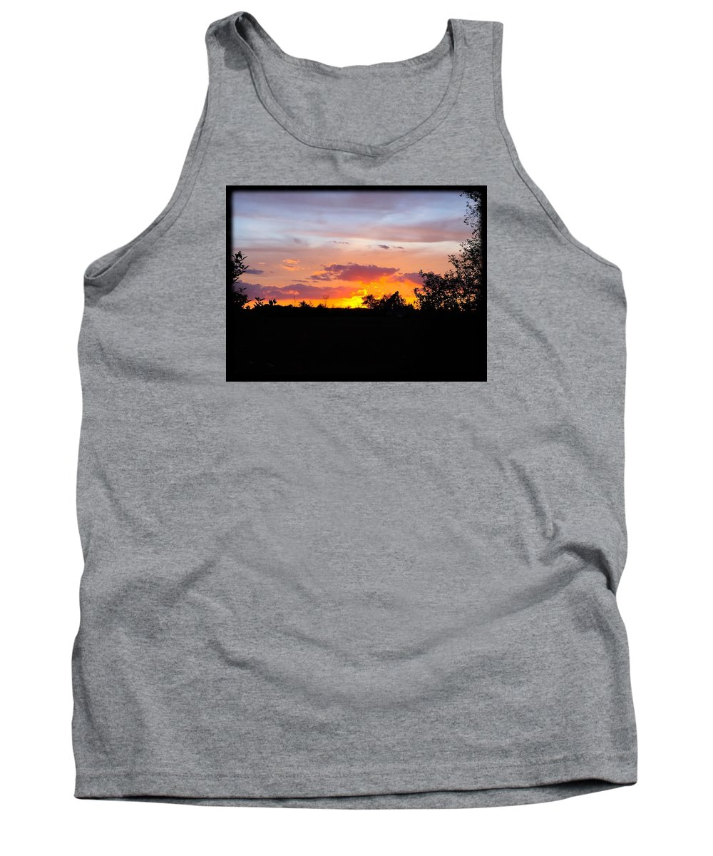 Sunset Tank Top featuring the photograph End Of The Day by Karen Dzielsky
