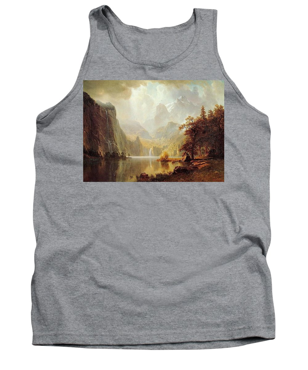 Fountain Tank Top featuring the digital art In The Mountains Albert Bierstadt by Eloisa Mannion