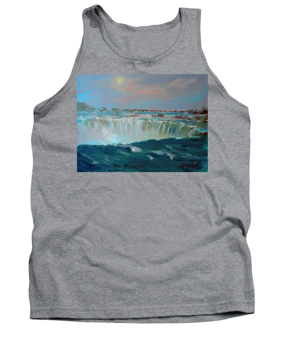 Landscape Tank Top featuring the painting Niagara Falls by Ylli Haruni