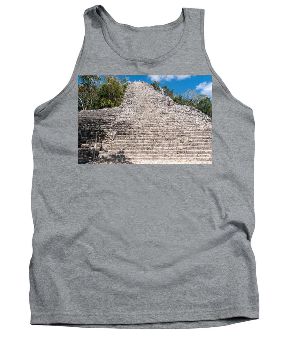 Mexico Quintana Roo Tank Top featuring the digital art People Climbing Nohoch Mul At The Coba Ruins by Carol Ailles