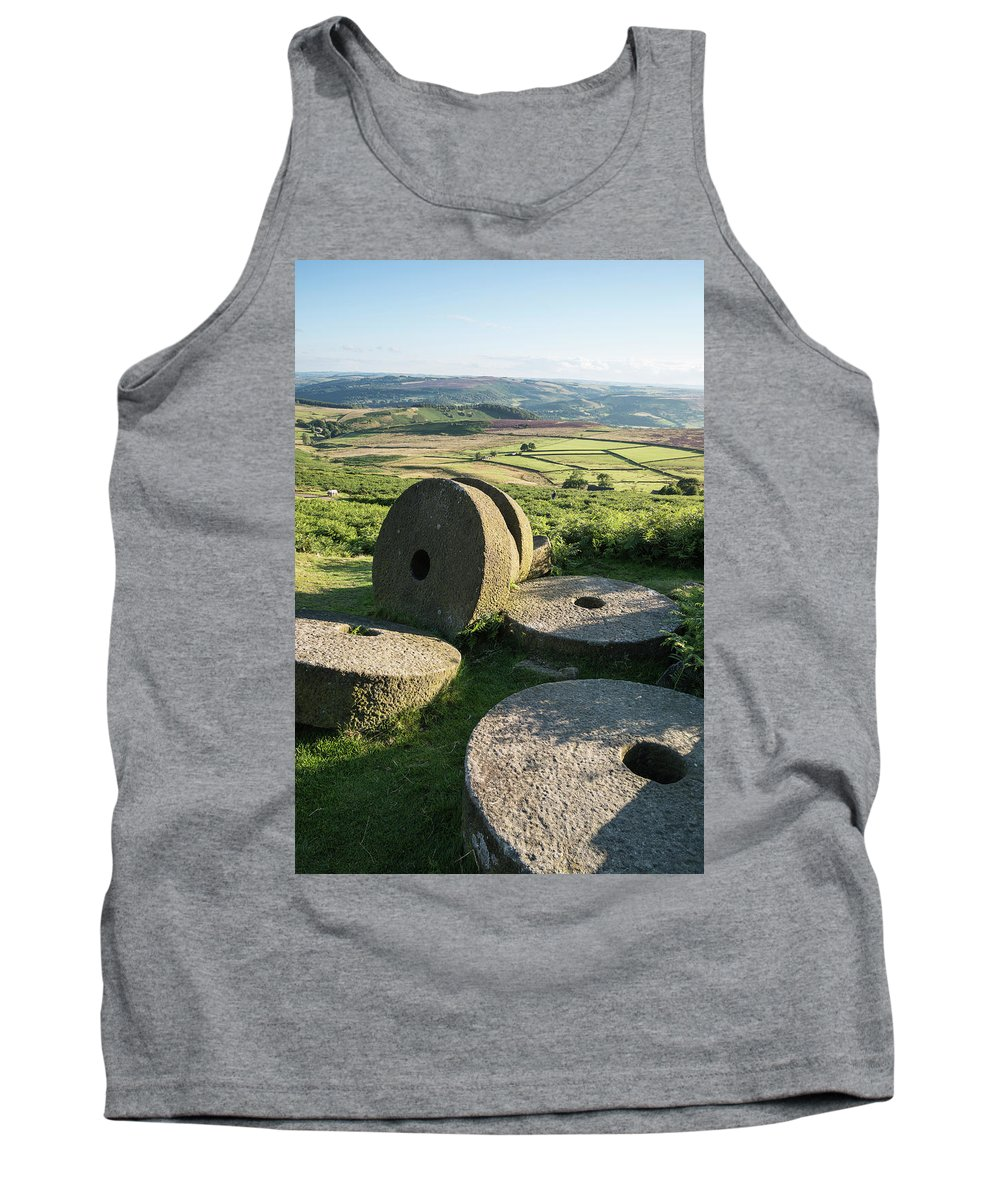 Landscape Tank Top featuring the photograph Summer Landscape Image Of Millstones On Top Of Stanage Edge In P by Matthew Gibson