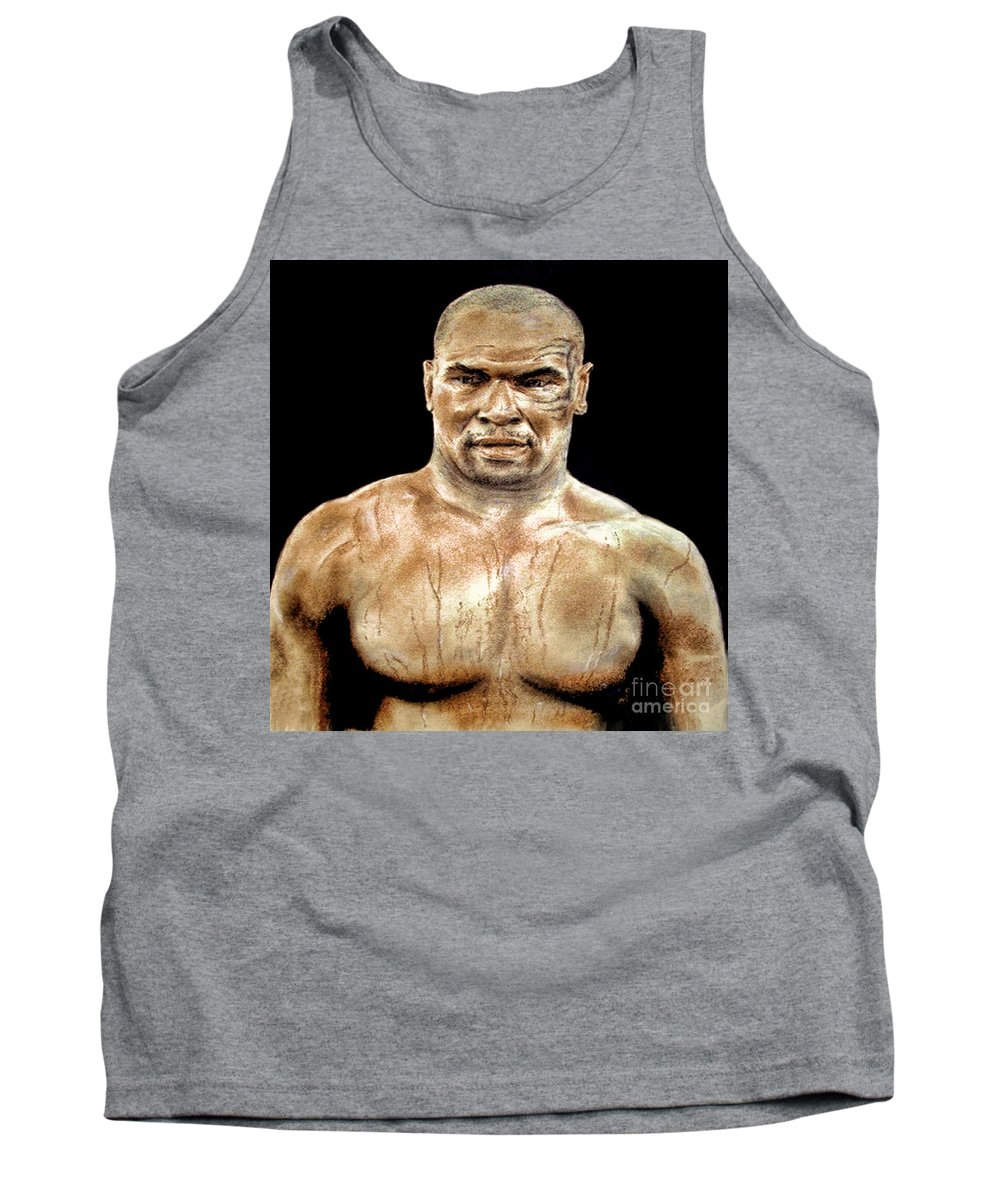 Drawing Tank Top featuring the painting Champion Boxer And Actor Mike Tyson by Jim Fitzpatrick