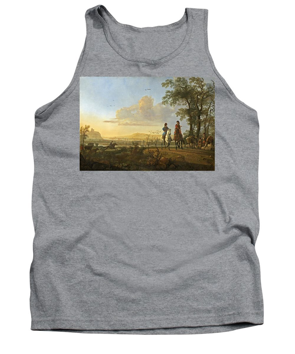 Aelbert Cuyp Tank Top featuring the painting Horsemen And Herdsmen With Cattle by Aelbert Cuyp