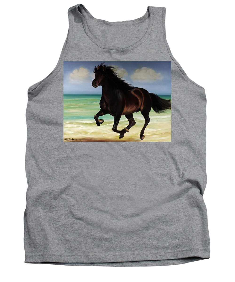Horse Tank Top featuring the painting Horses In Paradise Run by Gina De Gorna