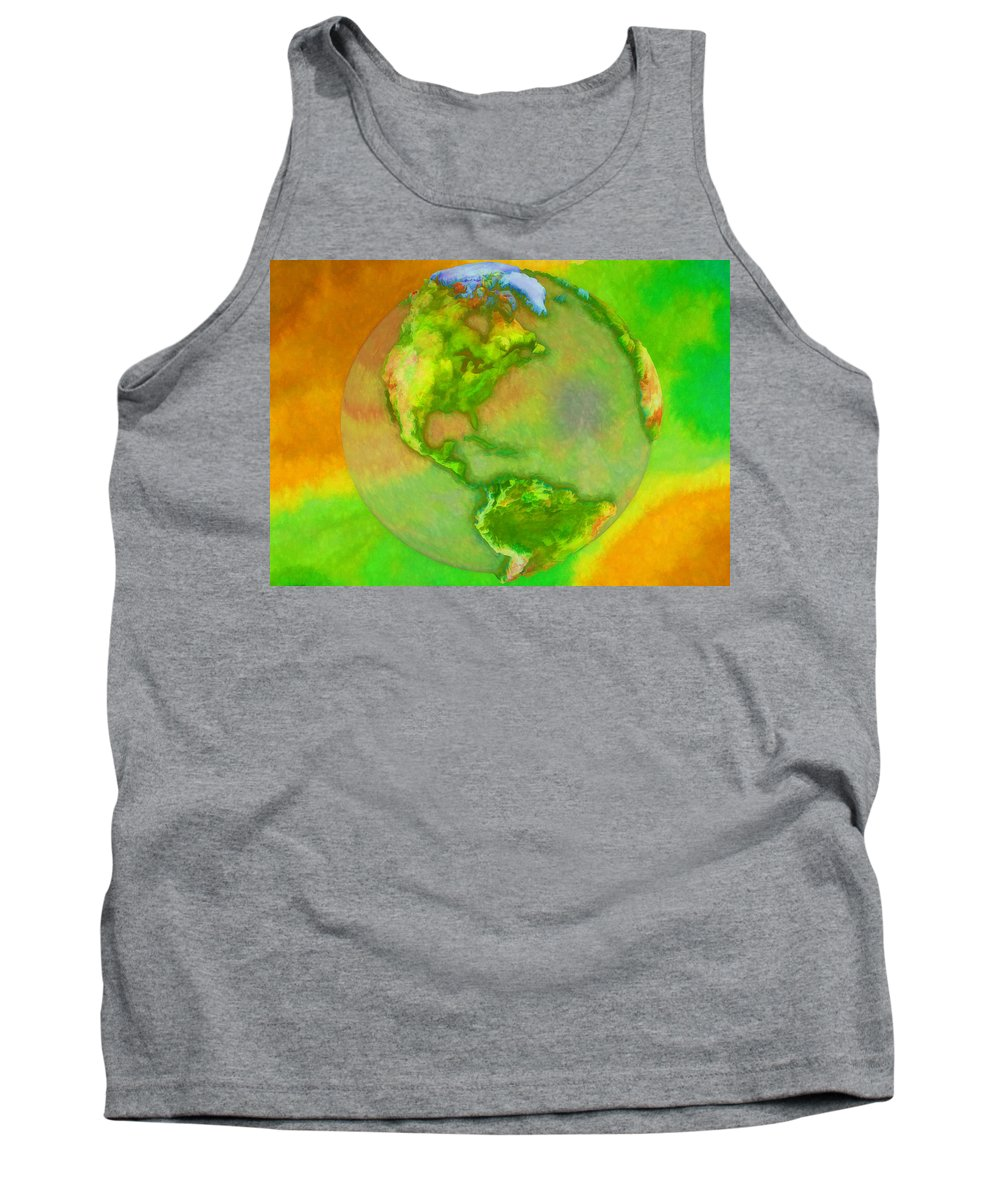 Earth Tank Top featuring the painting 3d Render Of Planet Earth by Jeelan Clark