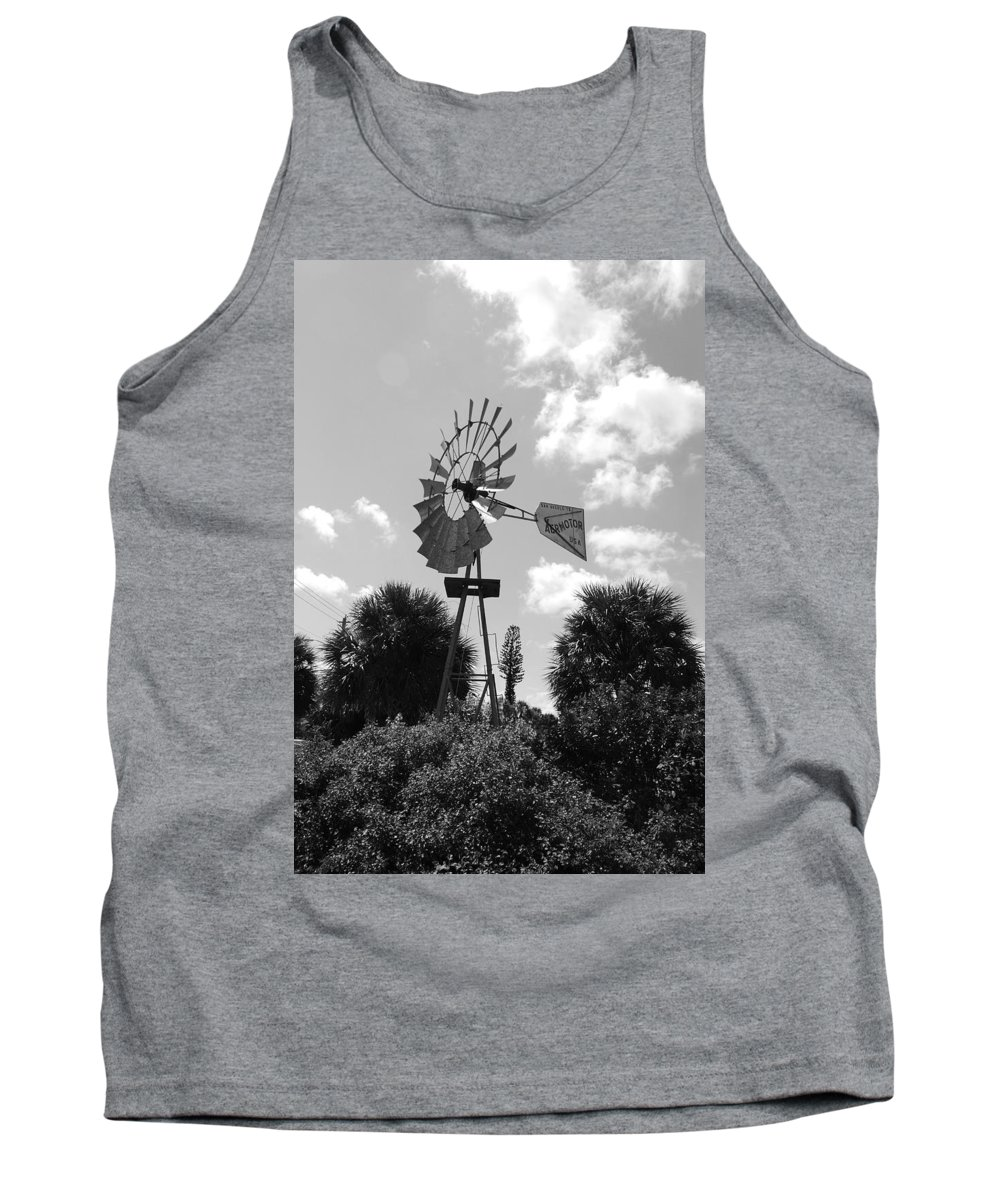 Black And White Tank Top featuring the photograph Aermotor Windmill by Rob Hans
