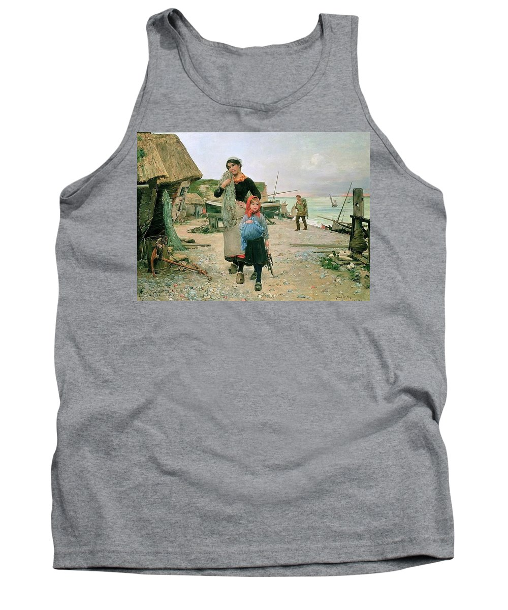 Man Tank Top featuring the digital art Fisherfolk Returning With Their Nets 1882 Henry Bacon by Eloisa Mannion