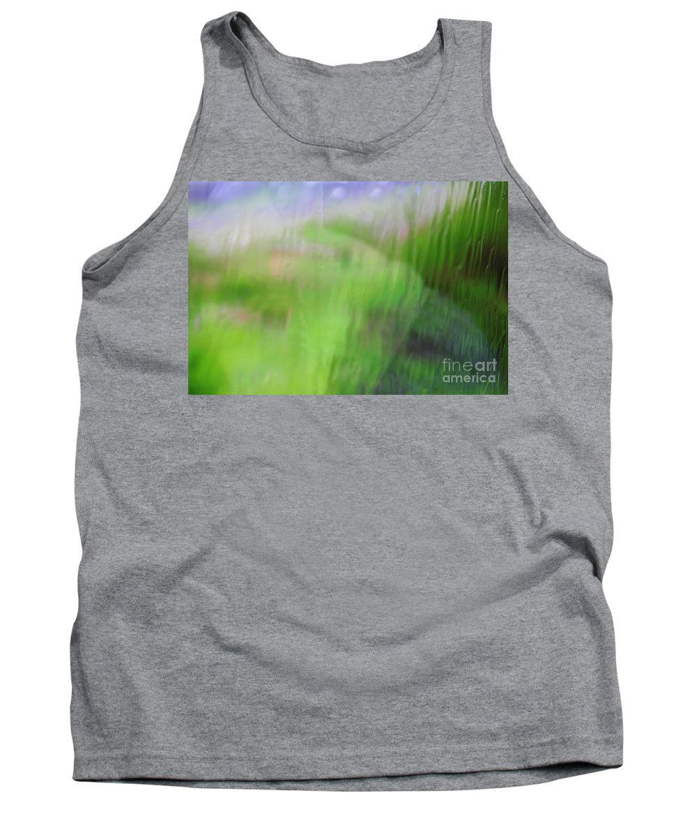Green Tank Top featuring the photograph Green Landscape Abstract by Vladi Alon