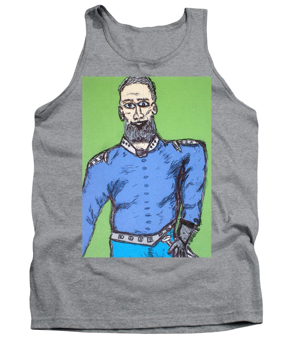 General Tank Top featuring the drawing 4 Stars For The General by Robert Margetts