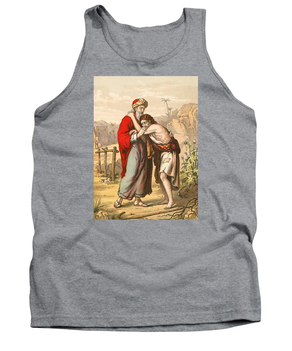 Prodigal Tank Top featuring the painting The Return Of The Prodigal Son by English School