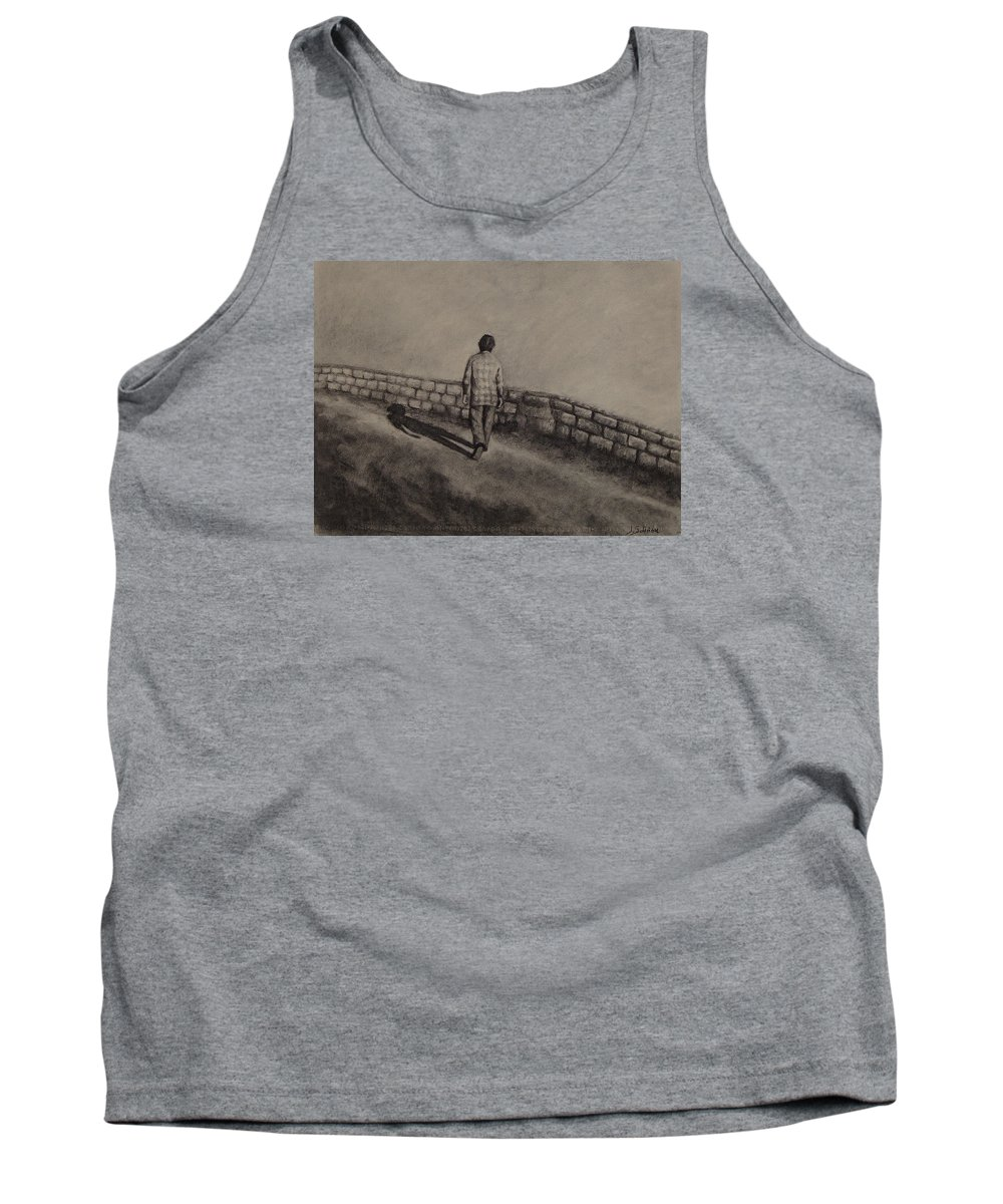 Charcoal Tank Top featuring the drawing Untitled by Ioulia Sotiriou