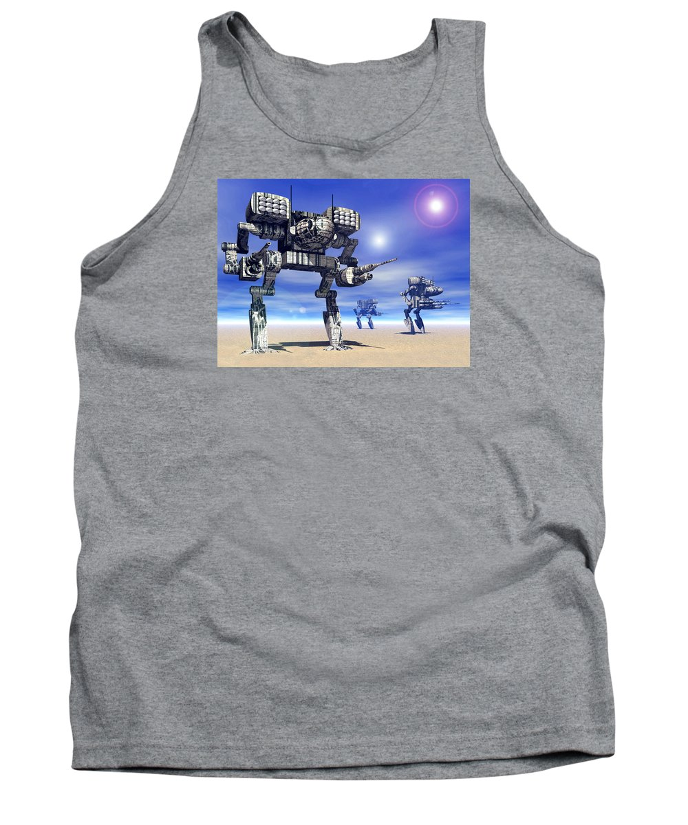 Science Fiction Tank Top featuring the digital art 501st Mech Trinary by Curtiss Shaffer