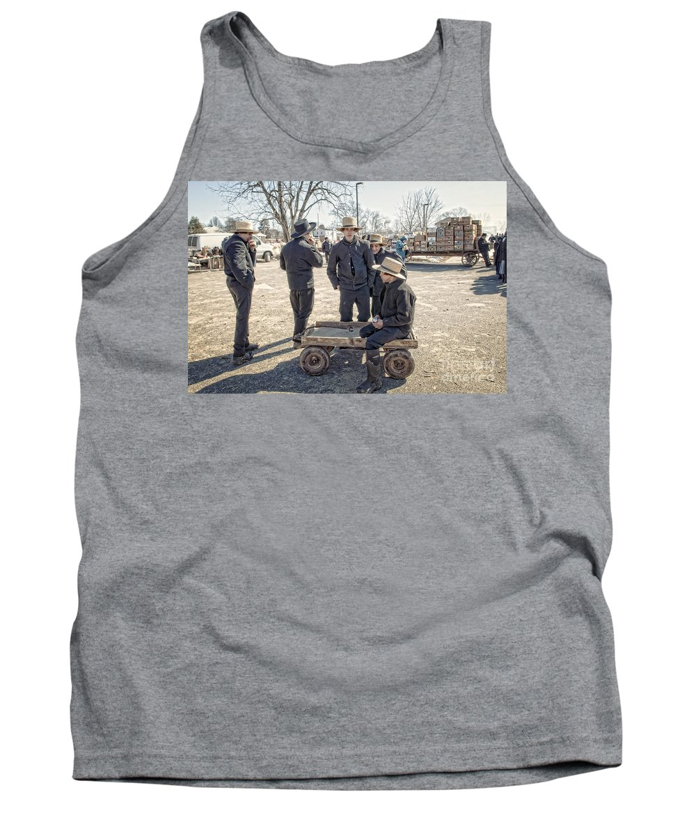 Boy People Street Youth Kid Young Village Countryside Guy Piazza Country Settlement Straw Hamlet Fellow Lad Marketplace Young People Adolescent Youngster Juvenile Stripling Chap Thorp Amish Tank Top featuring the pyrography Amish Life by Artur Pirant