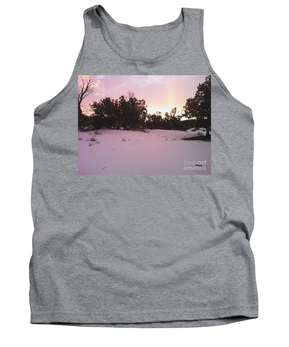 Snowy Tank Top featuring the photograph Snowy Desert Landscape by Frederick Holiday