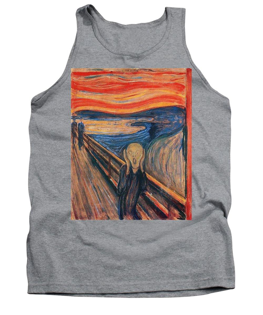 Fabric Tank Top featuring the digital art The Scream Ver 1893 Edvard Munch by Eloisa Mannion