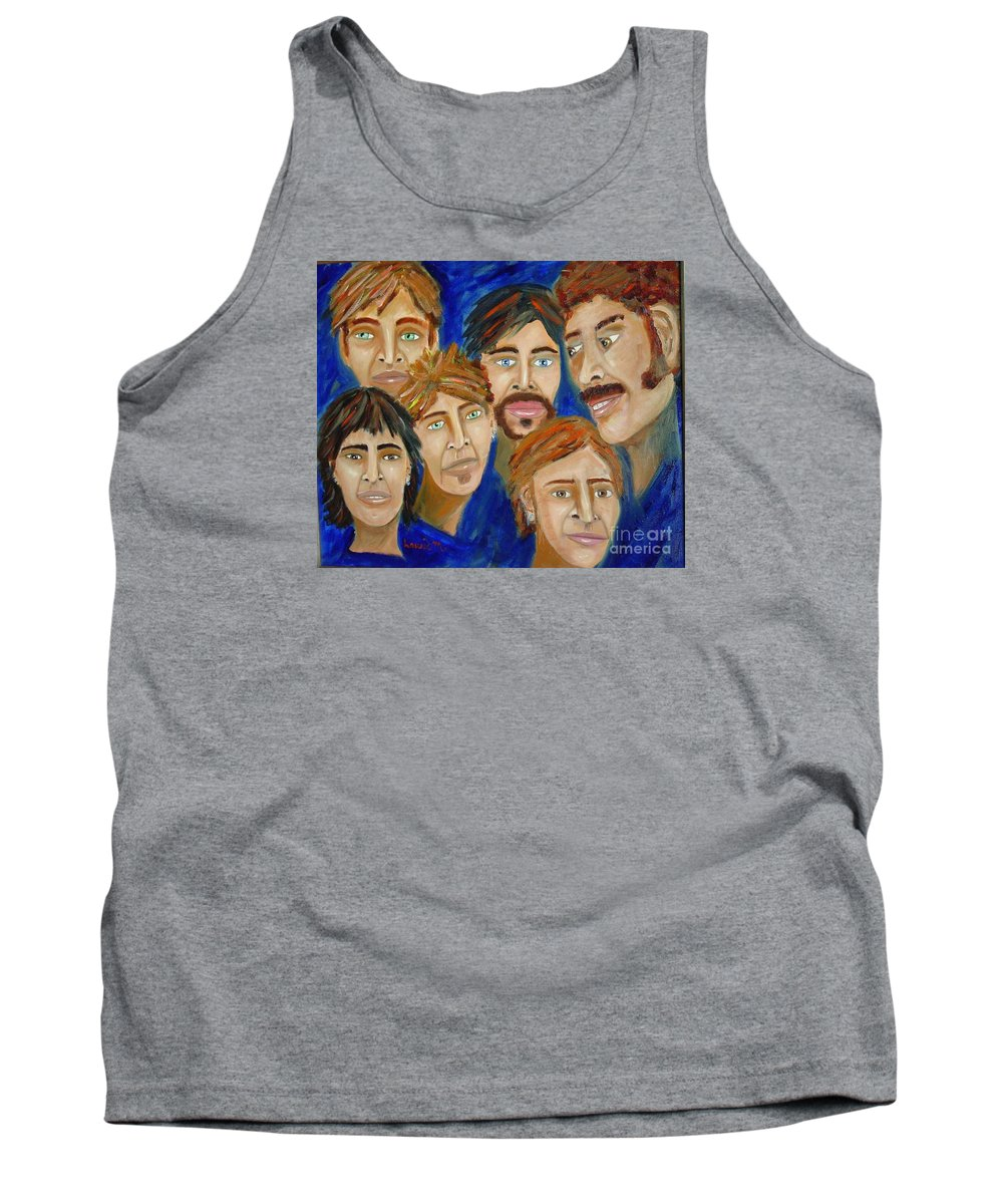 Portrait Tank Top featuring the painting 70s Band Reunion by Laurie Morgan