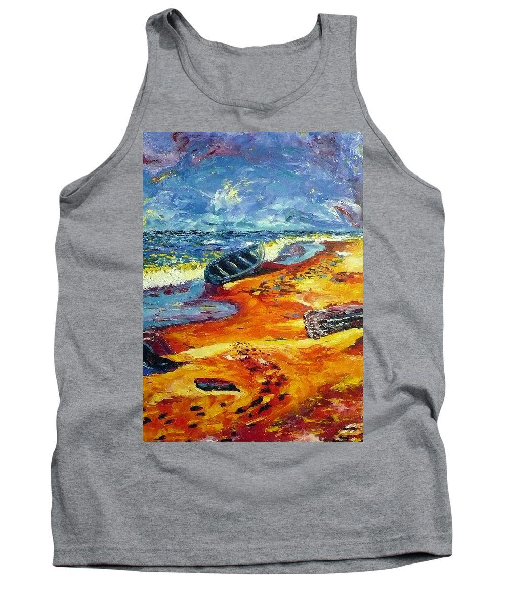Landscape Tank Top featuring the painting A Canoe At The Beach by Ericka Herazo