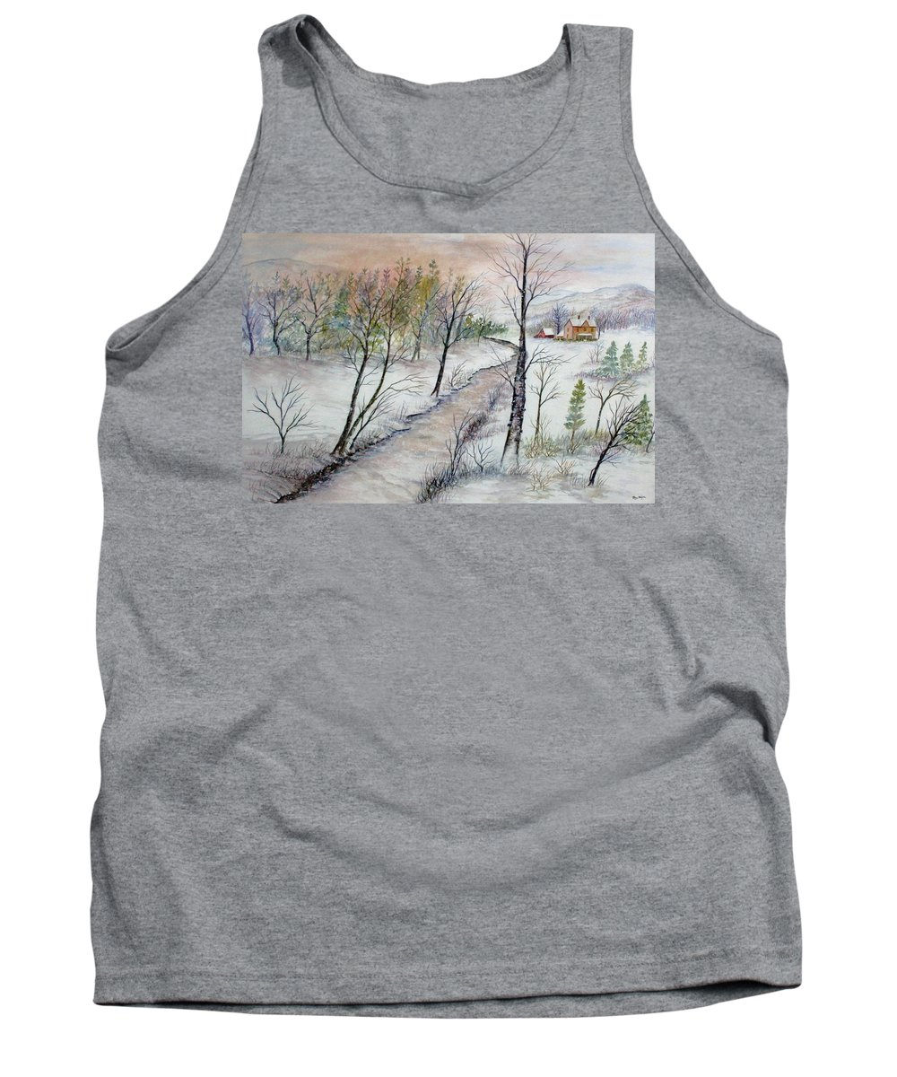 Snow; Creek; Trees; Old House; Sunrise;mountains Tank Top featuring the painting A Country Winter by Ben Kiger