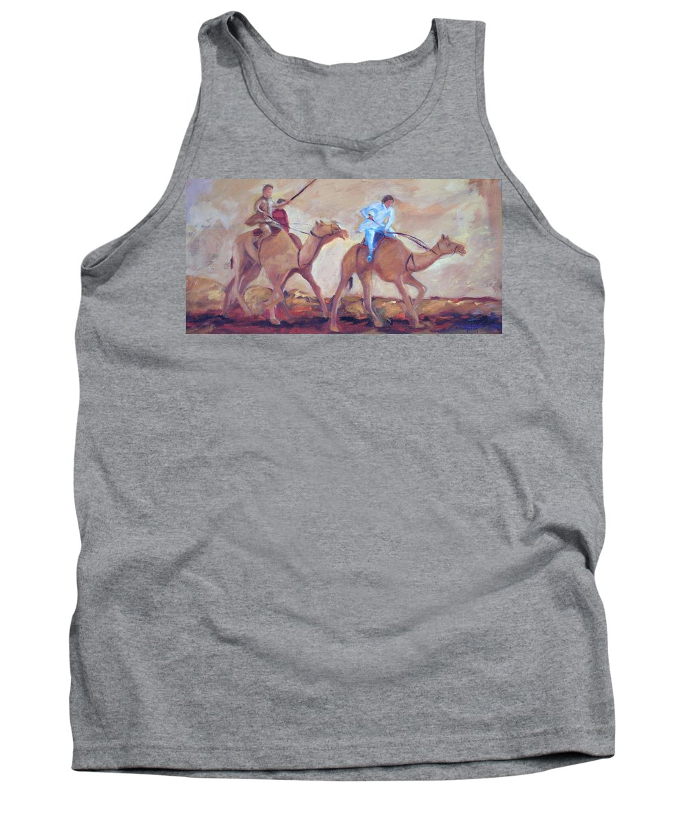 Figurative Tank Top featuring the painting A Day At The Camel Races by Ginger Concepcion