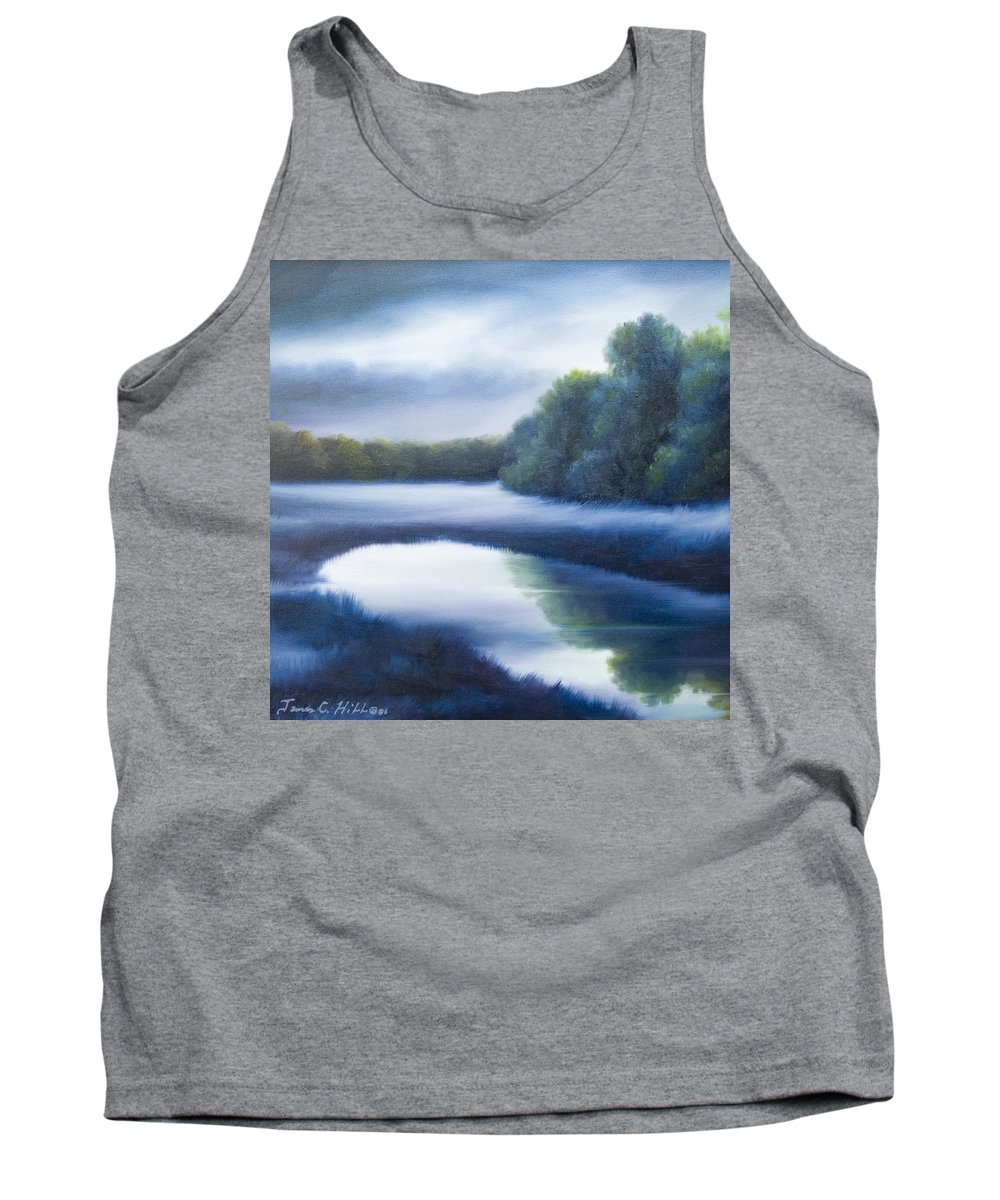 Nature; Lake; Sunset; Sunrise; Serene; Forest; Trees; Water; Ripples; Clearing; Lagoon; James Christopher Hill; Jameshillgallery.com; Foliage; Sky; Realism; Oils; Green; Tree; Blue; Pink; Pond; Lake Tank Top featuring the painting A Day In The Life 4 by James Christopher Hill