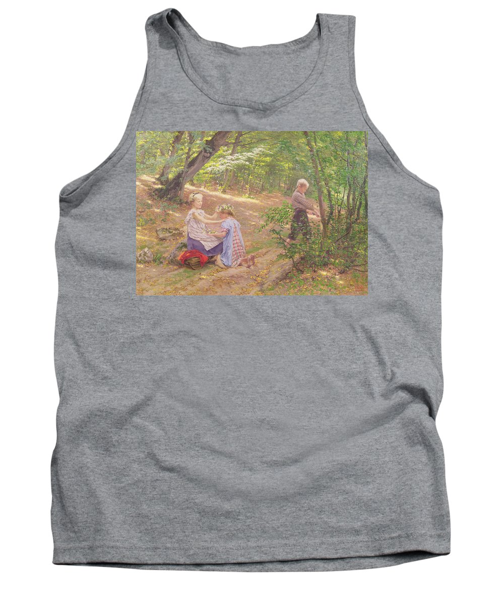 Garland Tank Top featuring the painting A Garland Of Flowers by Frigyes Friedrich Miess