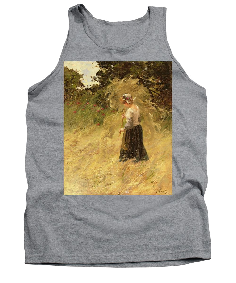 Agriculture Tank Top featuring the painting A Girl Harvesting Hay by Eugene Leon Labitte