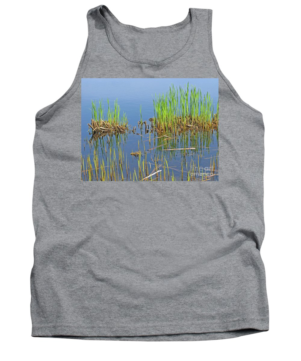 Spring Tank Top featuring the photograph A Greening Marshland by Ann Horn