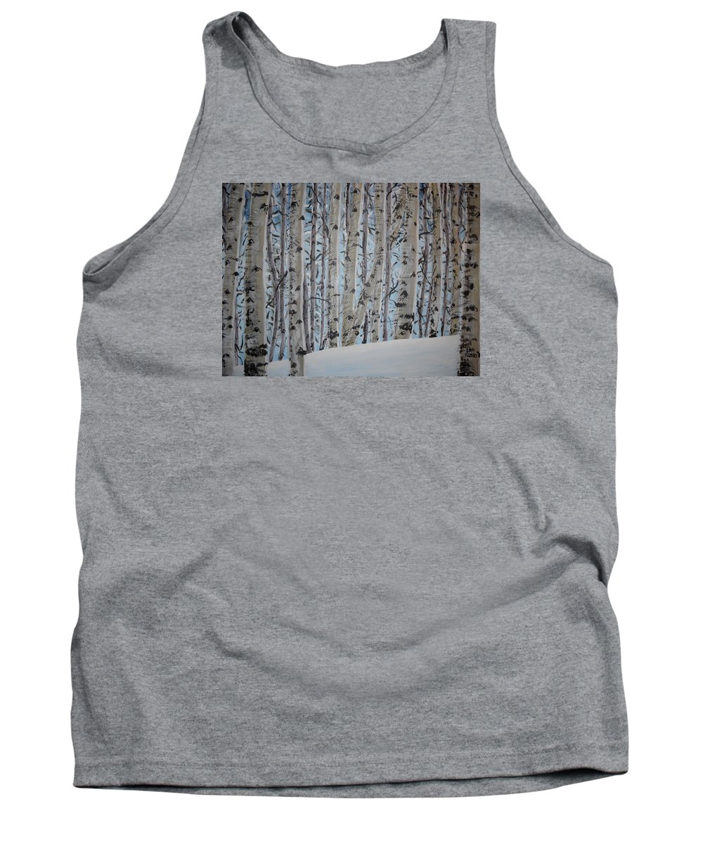 Aspen Tank Top featuring the painting A Grove Of Aspens by Cami Lee