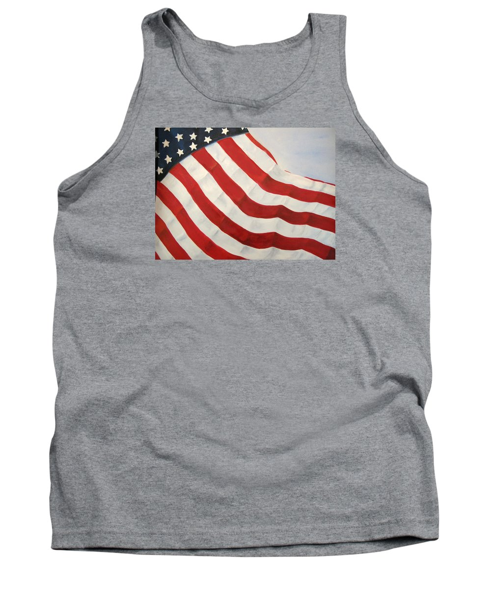 Flag Tank Top featuring the painting A Little Glory by Carol Sweetwood