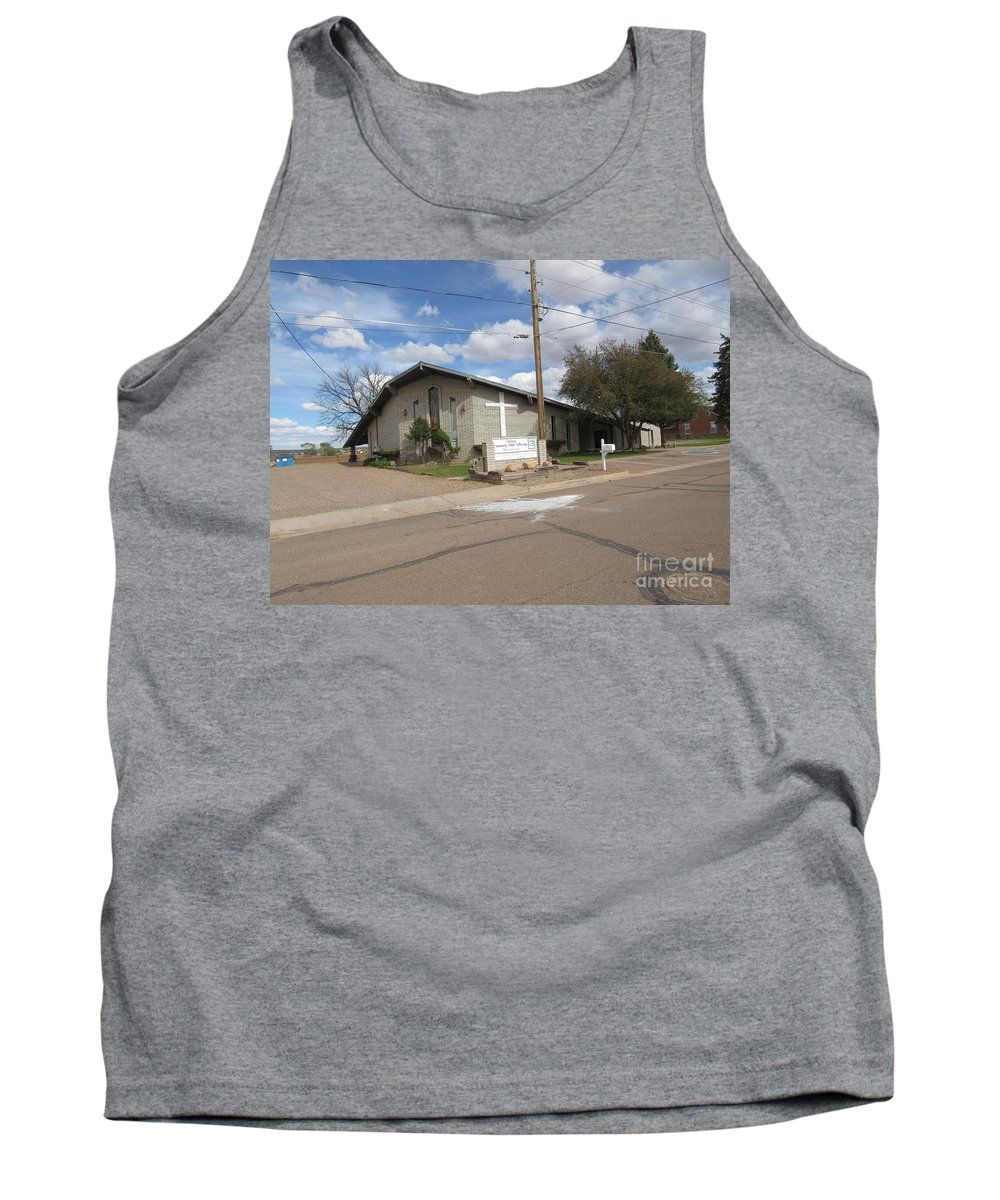 A Tank Top featuring the photograph A Snowflake Church by Frederick Holiday
