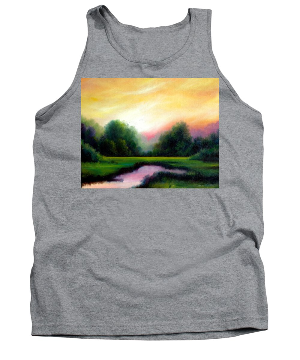 Clouds Tank Top featuring the painting A Spring Evening by James Christopher Hill