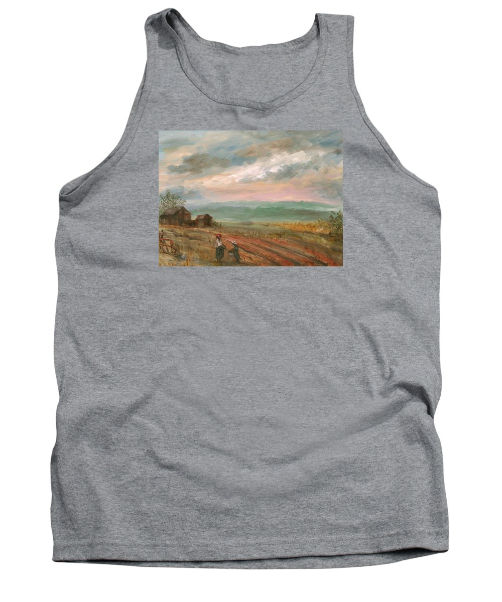 Landscape Tank Top featuring the painting A Time To Plant - Sold by Vivan Robinson