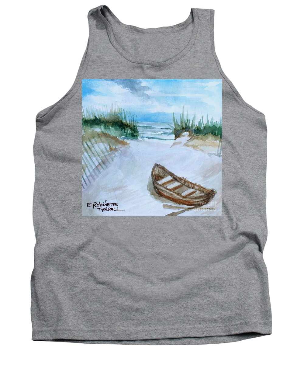 Landscape Tank Top featuring the painting A Trip To The Beach by Elizabeth Robinette Tyndall