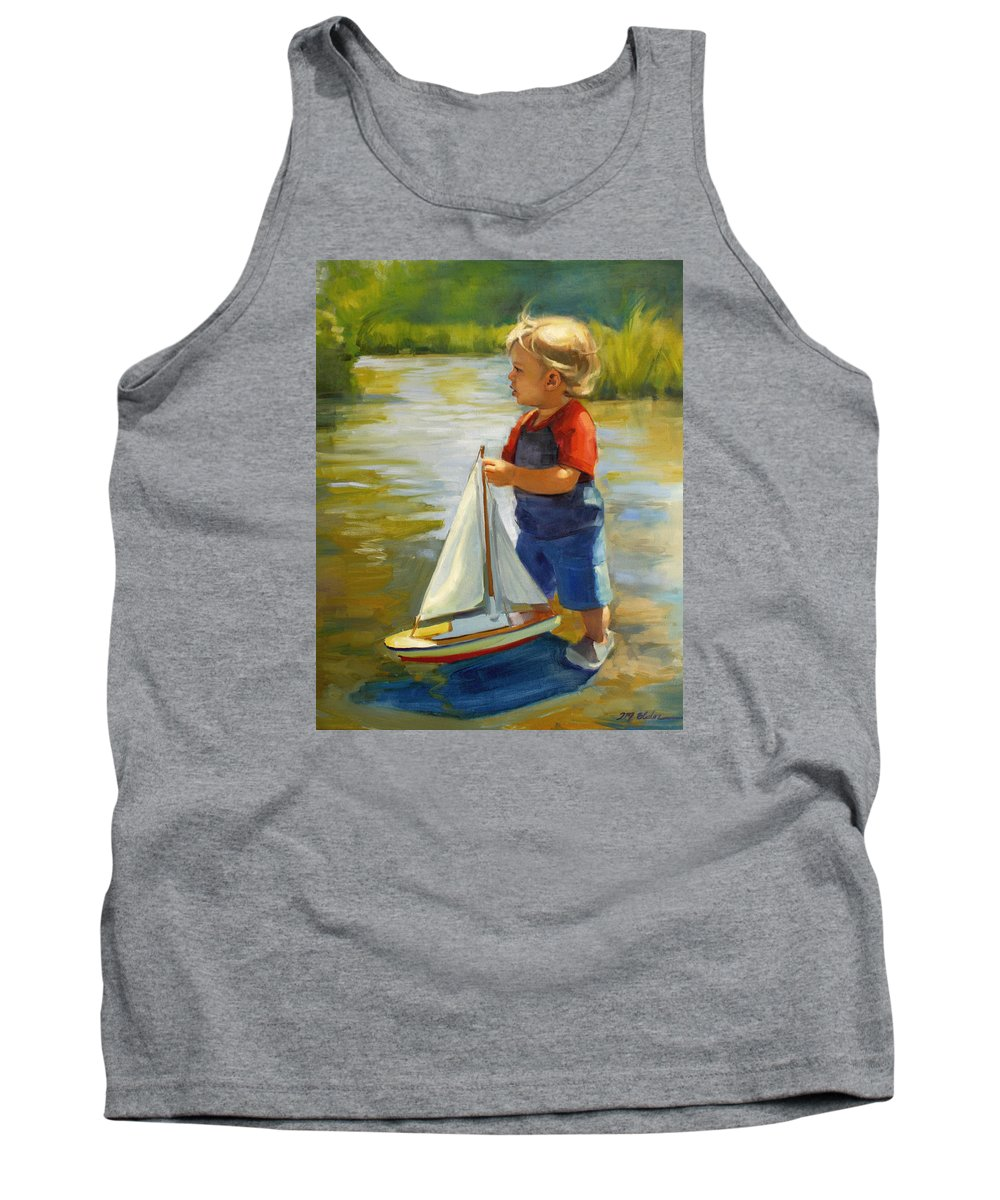 River Tank Top featuring the painting A Visit To Umpqua by Jenay Elder