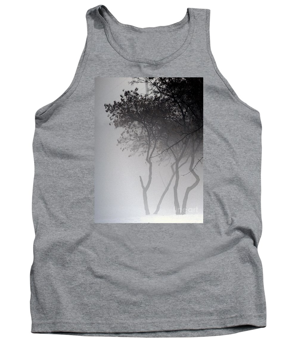 Trees Tank Top featuring the photograph A Walk Through The Mist by Linda Shafer