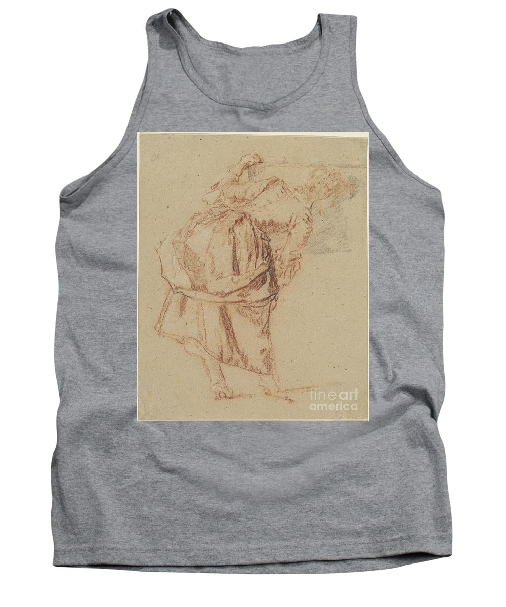 Tank Top featuring the drawing A Young Woman Looking In A Mirror by Nicolas Lancret