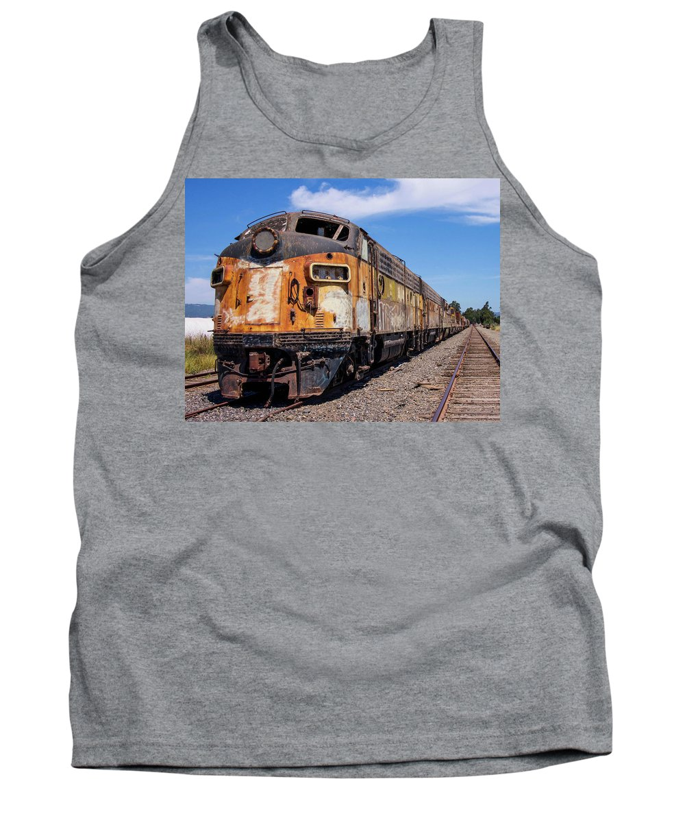 Bessemer And Lake Erie F7 718a And 716b Sit Abandoned And Forgotten About Half A Mille South Of The Schellville Train Station In Sonoma California. They Are Quite A Sight. There Are Several Cars Of Different Sorts Attached To This Train. I Find It To Be Beautiful In It's Own Industrial Way. Tank Top featuring the photograph Abandoned Bessemer And Lake Erie Trains Schellville California by Brian Maroevich