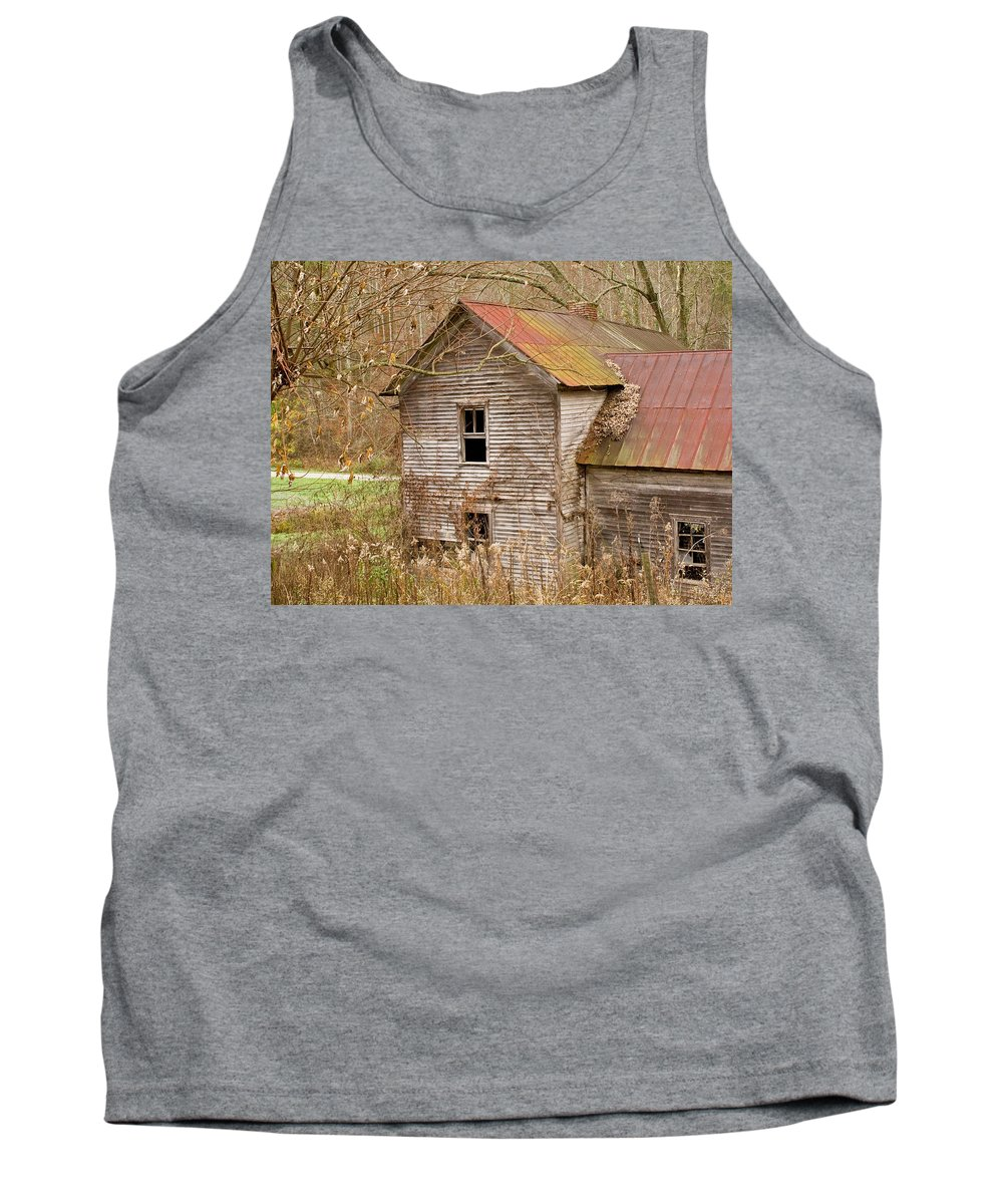 Abandoned Tank Top featuring the photograph Abandoned House With Colorful Roof by Douglas Barnett