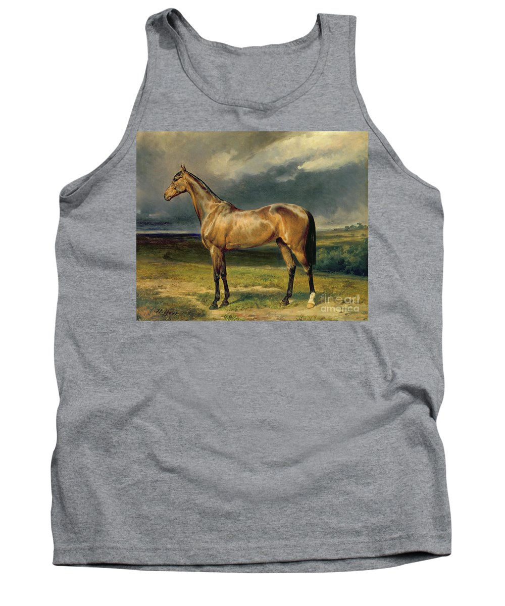 Equestrian; Portrait; Brown; Bay; Landscape; Horse Tank Top featuring the painting Abdul Medschid The Chestnut Arab Horse by Carl Constantin Steffeck