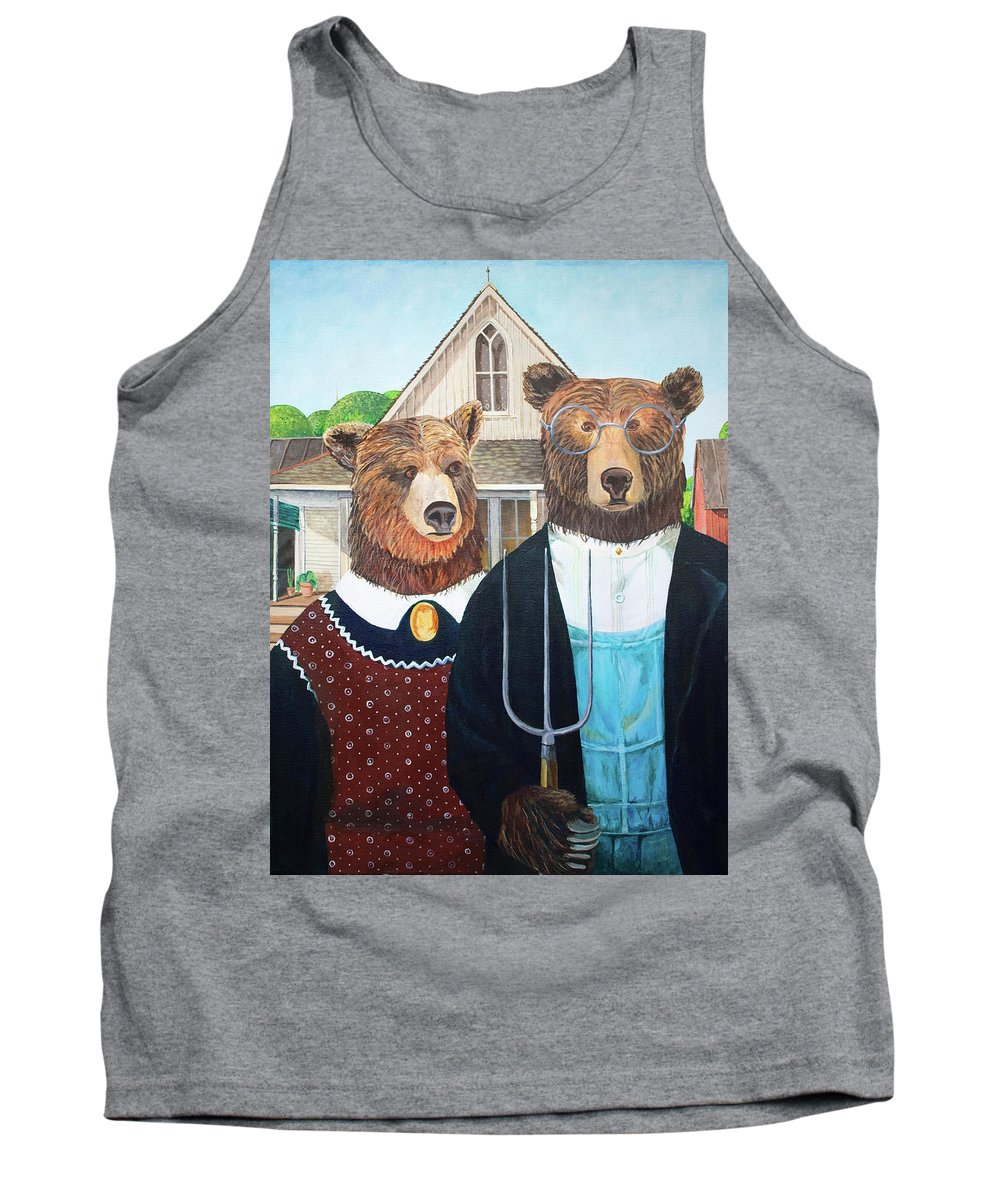 Tank Top featuring the digital art Abearican Gothic by Emily Cooper