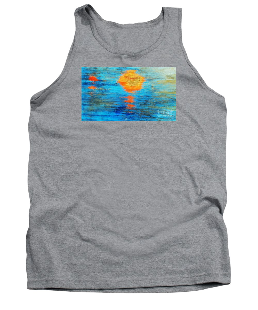 Abstract Tank Top featuring the photograph Abstract Watery Sunset by Sharon Eng