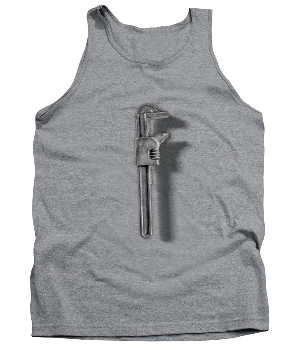 Antique Tank Top featuring the photograph Adjustable Wrench Backside in BW by YoPedro