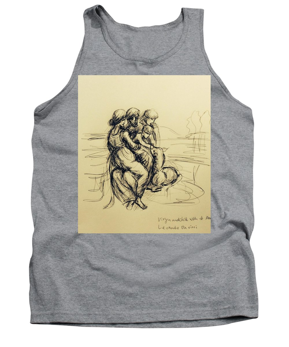 Pen Drawing Of Virgin And Child With St Anne Tank Top featuring the drawing After Leonardo Da Vinci by Hae Kim