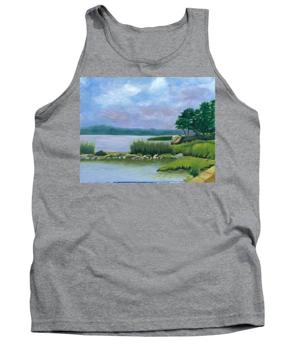 Seascape Tank Top featuring the painting Afternoon At Pilgrim by Paula Emery