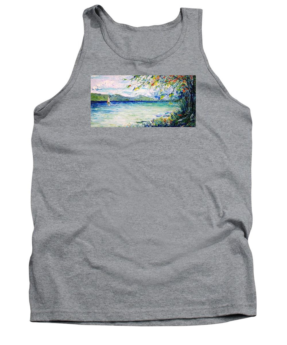 Landscape Tank Top featuring the painting Afternoon Sail by Jo Gerrior