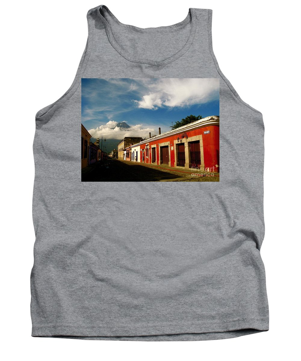 Bareri Tank Top featuring the photograph Agua Looking Over Antigua by Valerie Rosen