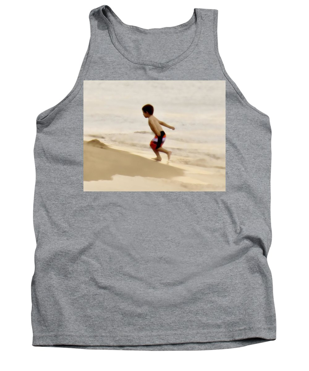 Beach Tank Top featuring the photograph Airplane Boy by John Hansen