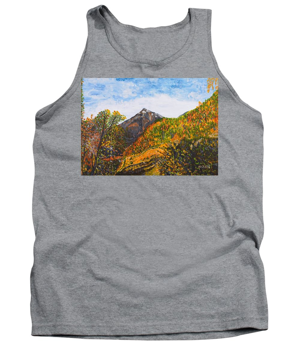 Landscape Tank Top featuring the painting Algund View by Valerie Ornstein