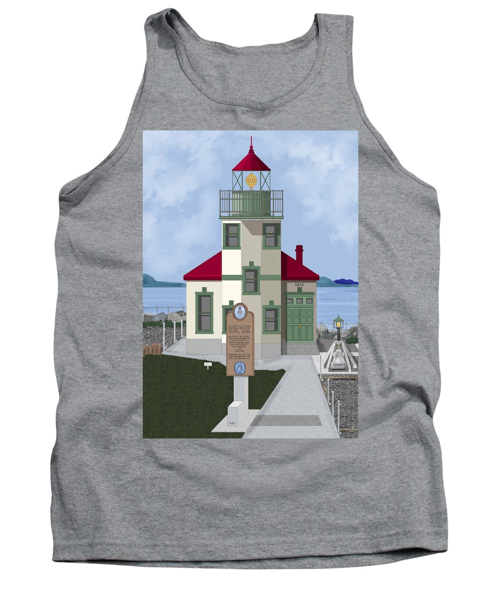 Lighthouse Tank Top featuring the painting Alki Point On Elliott Bay by Anne Norskog
